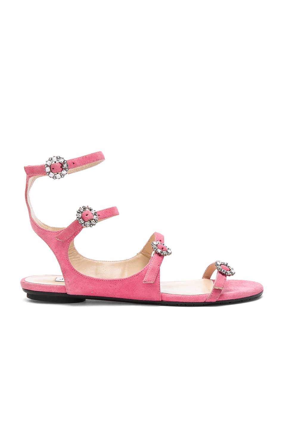 9294b93555fa Image 1 of Jimmy Choo Naia Suede Sandals in Flamingo   Crystal