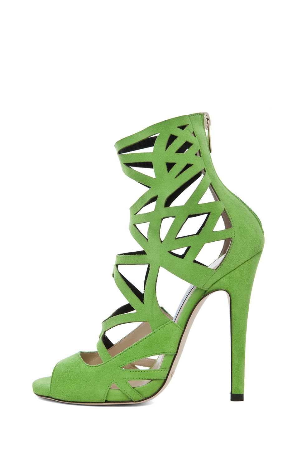 Image 1 of Jimmy Choo Viva Suede Cut Out Booties in Lime
