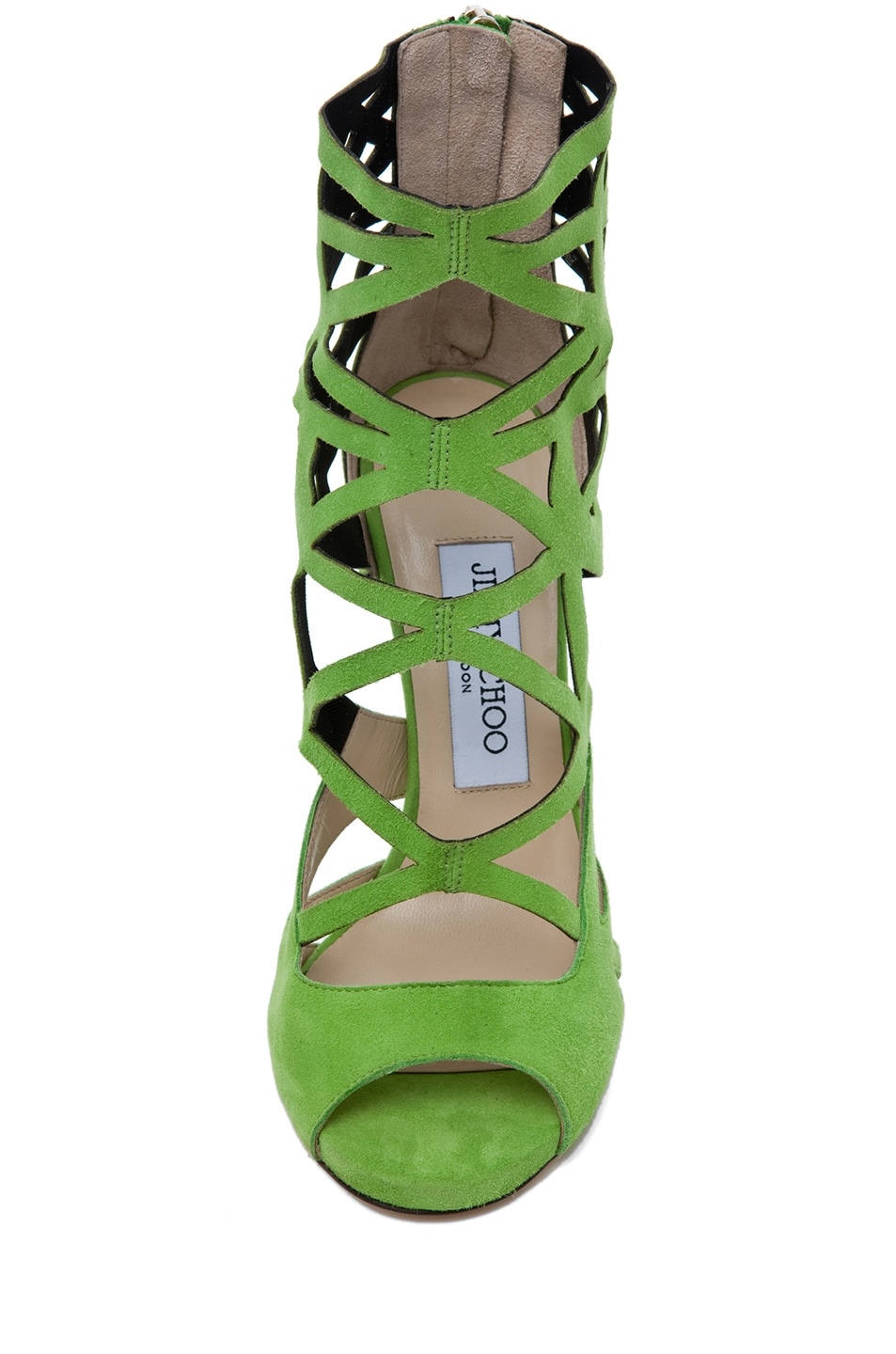 Image 4 of Jimmy Choo Viva Suede Cut Out Booties in Lime