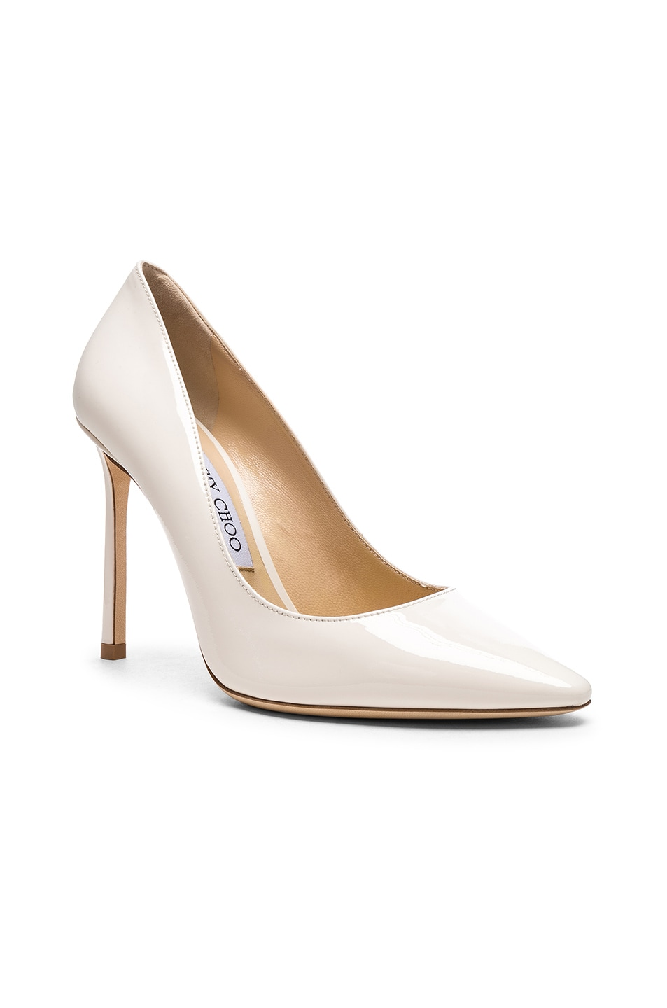 Image 2 of Jimmy Choo Romy 100 Patent Leather Heels in Chalk