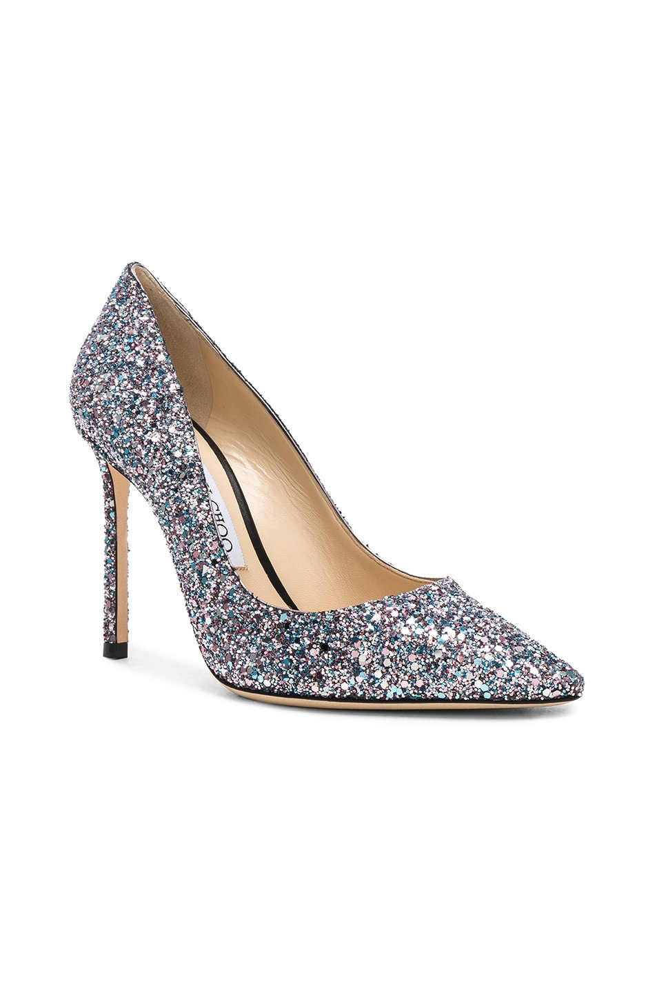 Image 2 of Jimmy Choo Romy 100 Glitter Heels in Bubblegum Mix