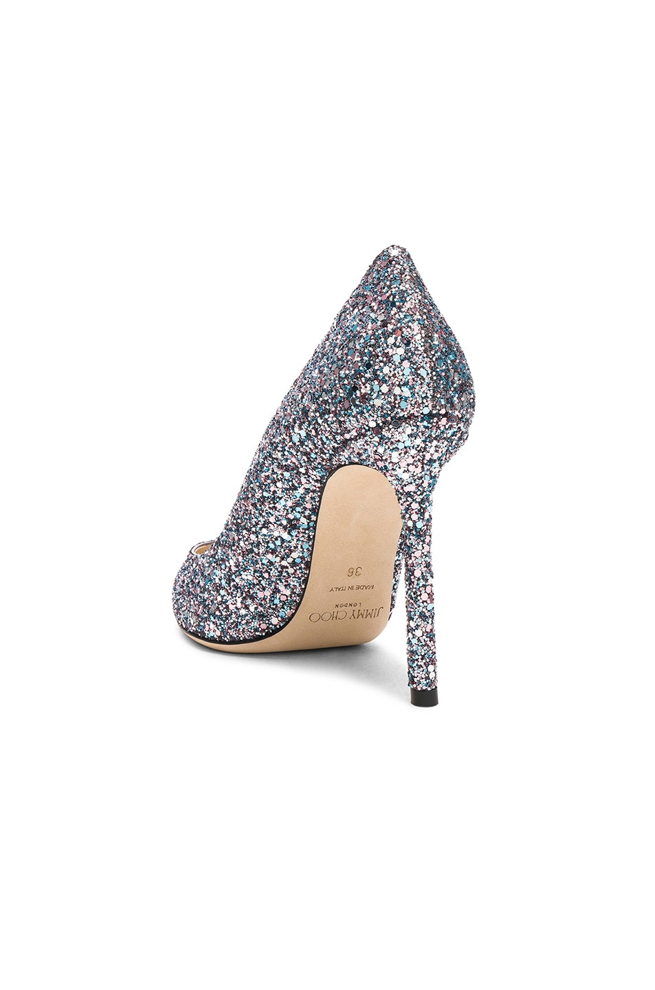 Image 3 of Jimmy Choo Romy 100 Glitter Heels in Bubblegum Mix