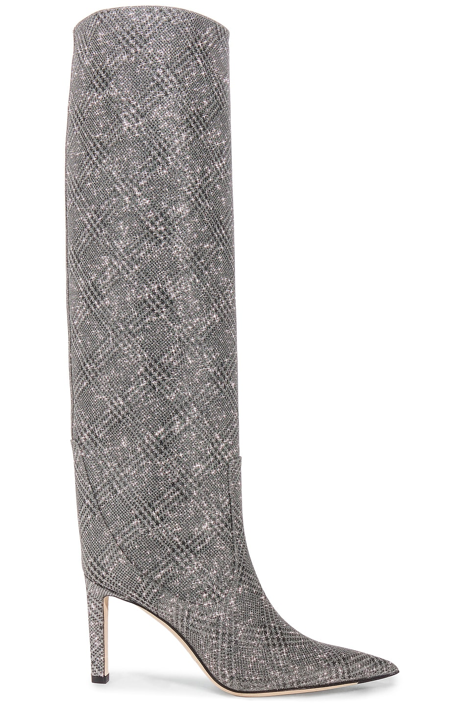 Image 1 of Jimmy Choo Mavis 85 Glitter Boots in Silver