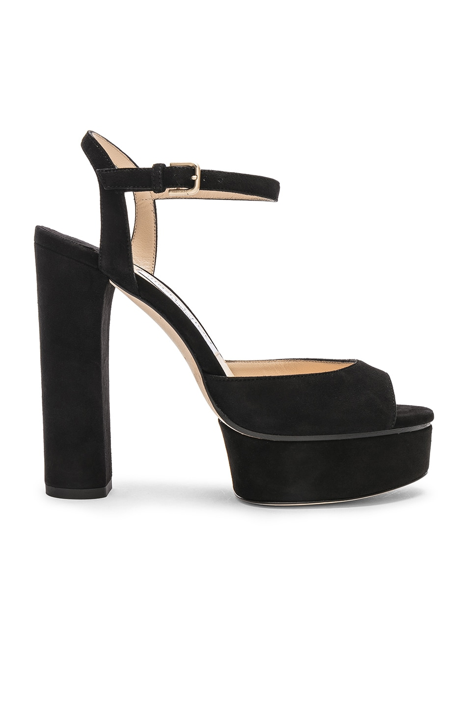 Image 1 of Jimmy Choo Peachy 125 Suede Platform in Black