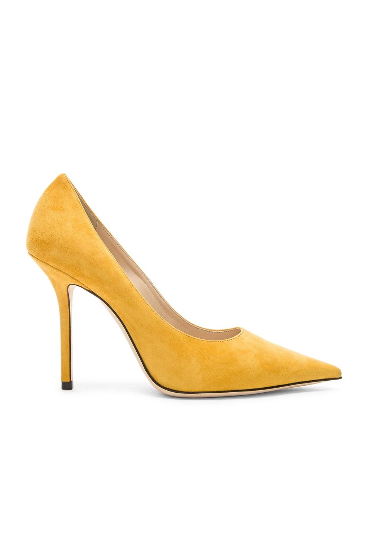 Image 1 of Jimmy Choo Love 100 Suede Heel in Saffron