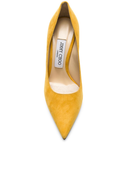 Image 4 of Jimmy Choo Love 100 Suede Heel in Saffron