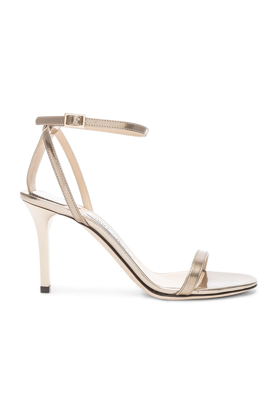 Image 1 of Jimmy Choo Minny 85 Mirror Leather Sandal in Gold
