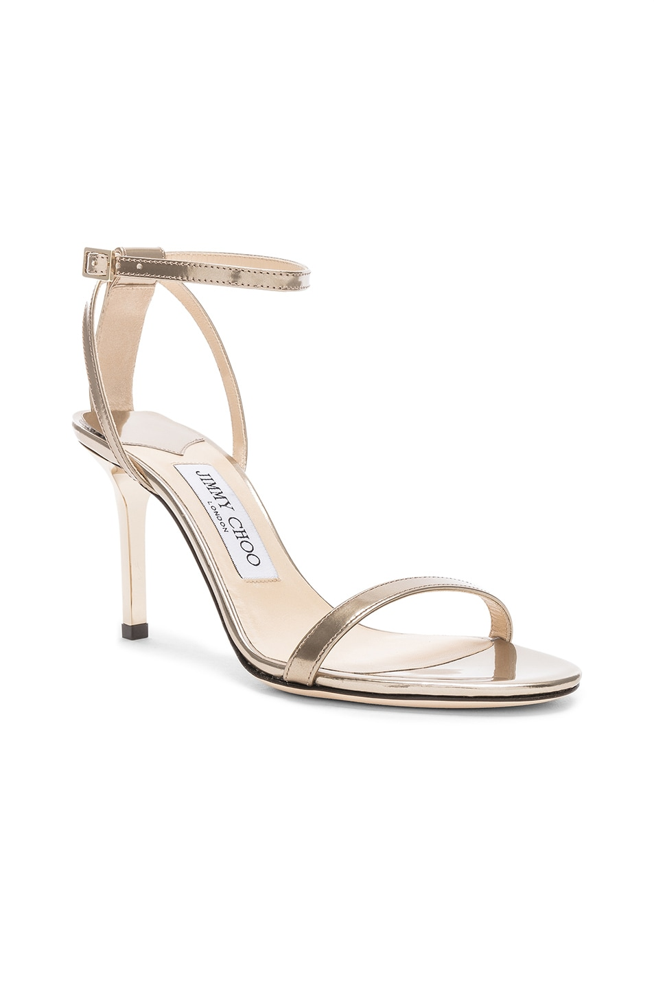Image 2 of Jimmy Choo Minny 85 Mirror Leather Sandal in Gold