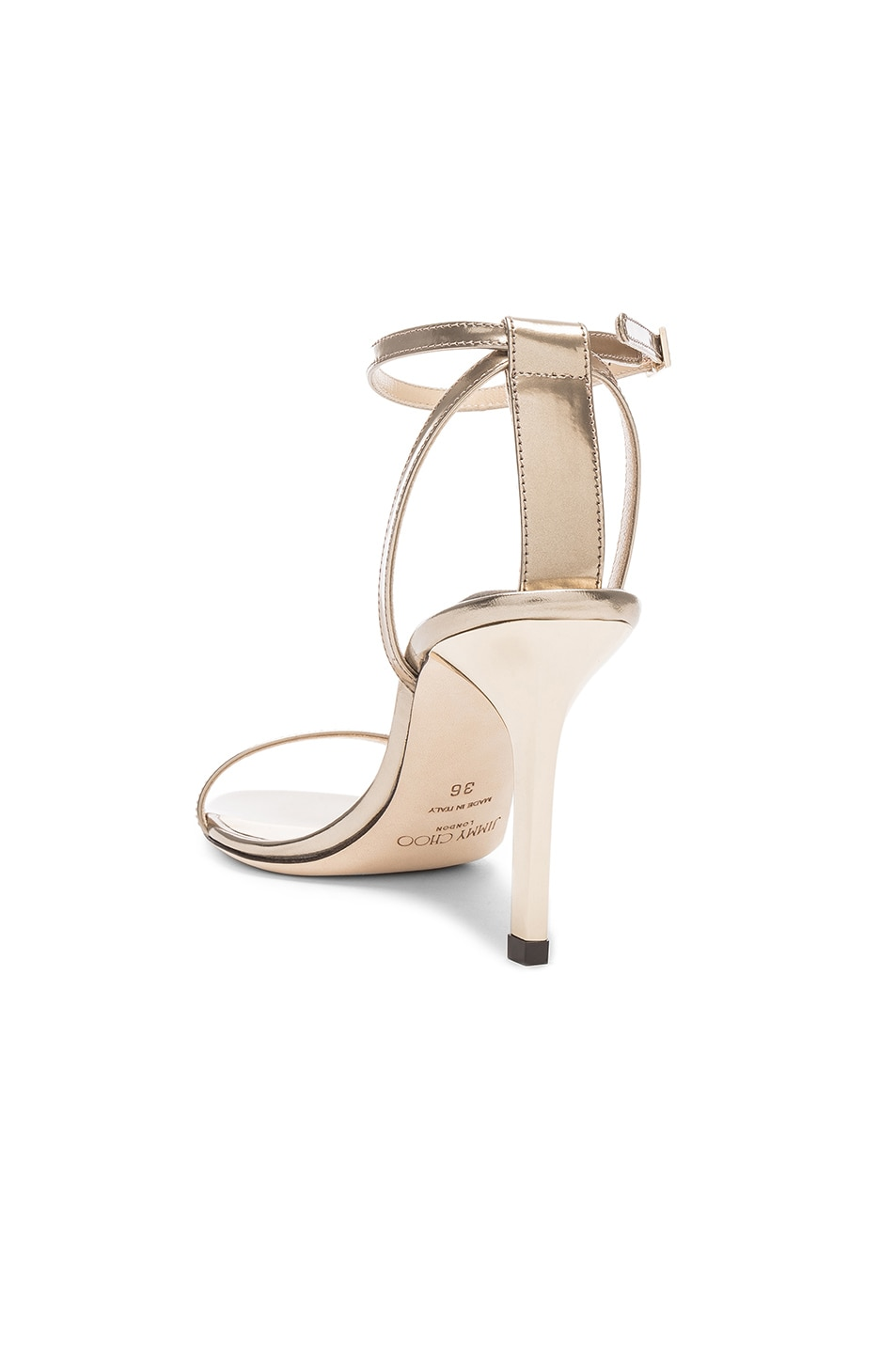 Image 3 of Jimmy Choo Minny 85 Mirror Leather Sandal in Gold