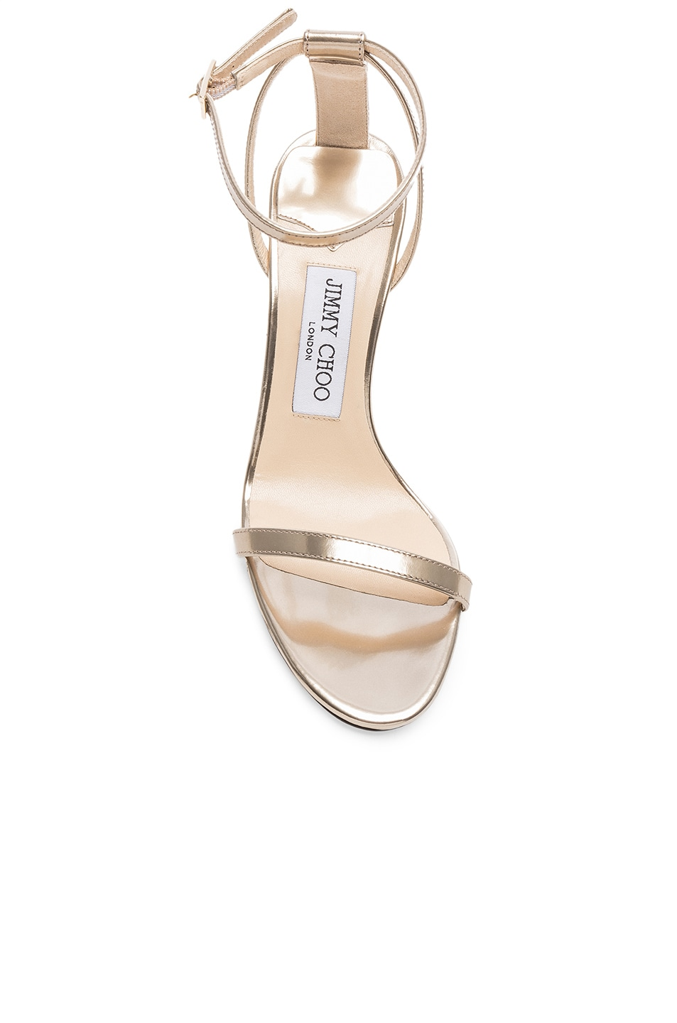 Image 4 of Jimmy Choo Minny 85 Mirror Leather Sandal in Gold