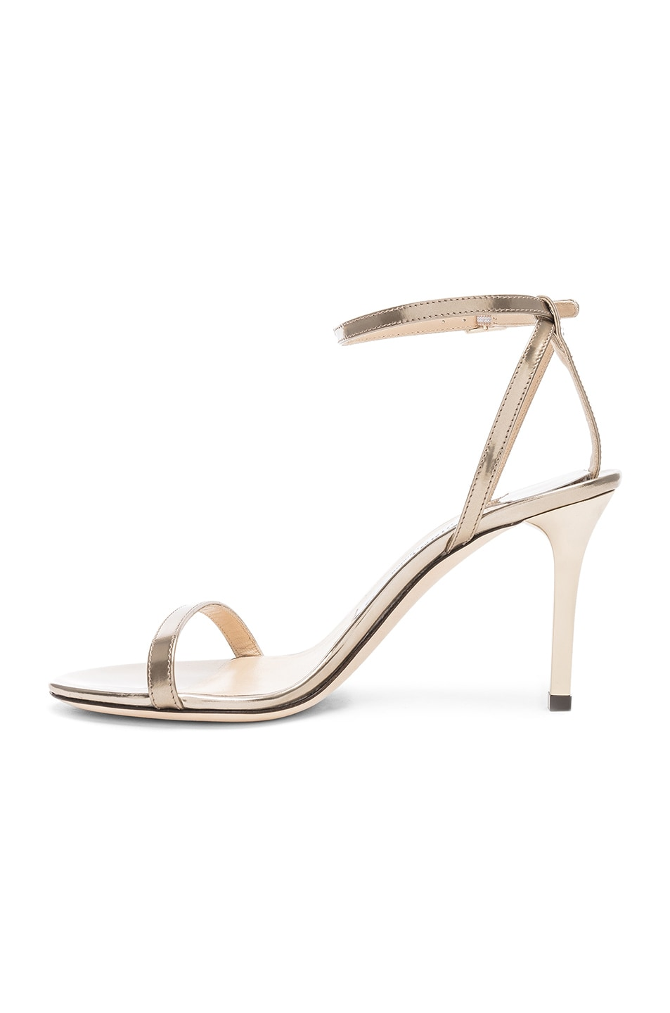 Image 5 of Jimmy Choo Minny 85 Mirror Leather Sandal in Gold