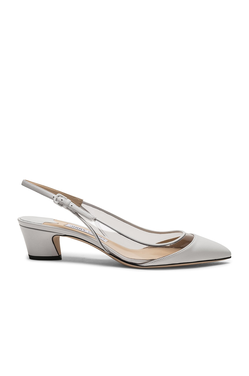 Image 1 of Jimmy Choo Gemma 40 Leather Plexi Slingback in White & Clear