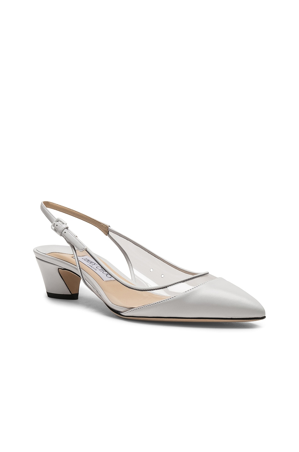 Image 2 of Jimmy Choo Gemma 40 Leather Plexi Slingback in White & Clear