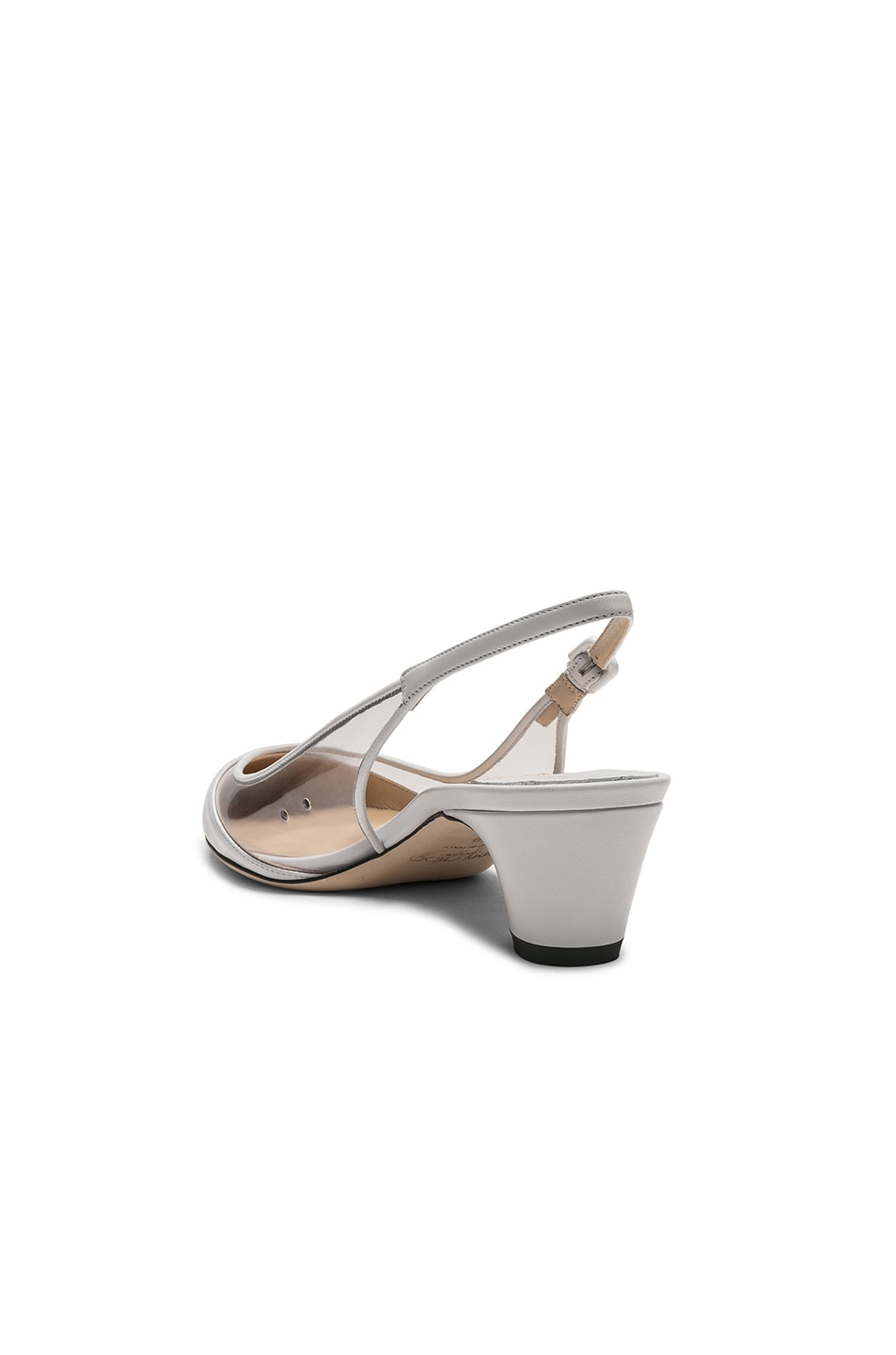 Image 3 of Jimmy Choo Gemma 40 Leather Plexi Slingback in White & Clear