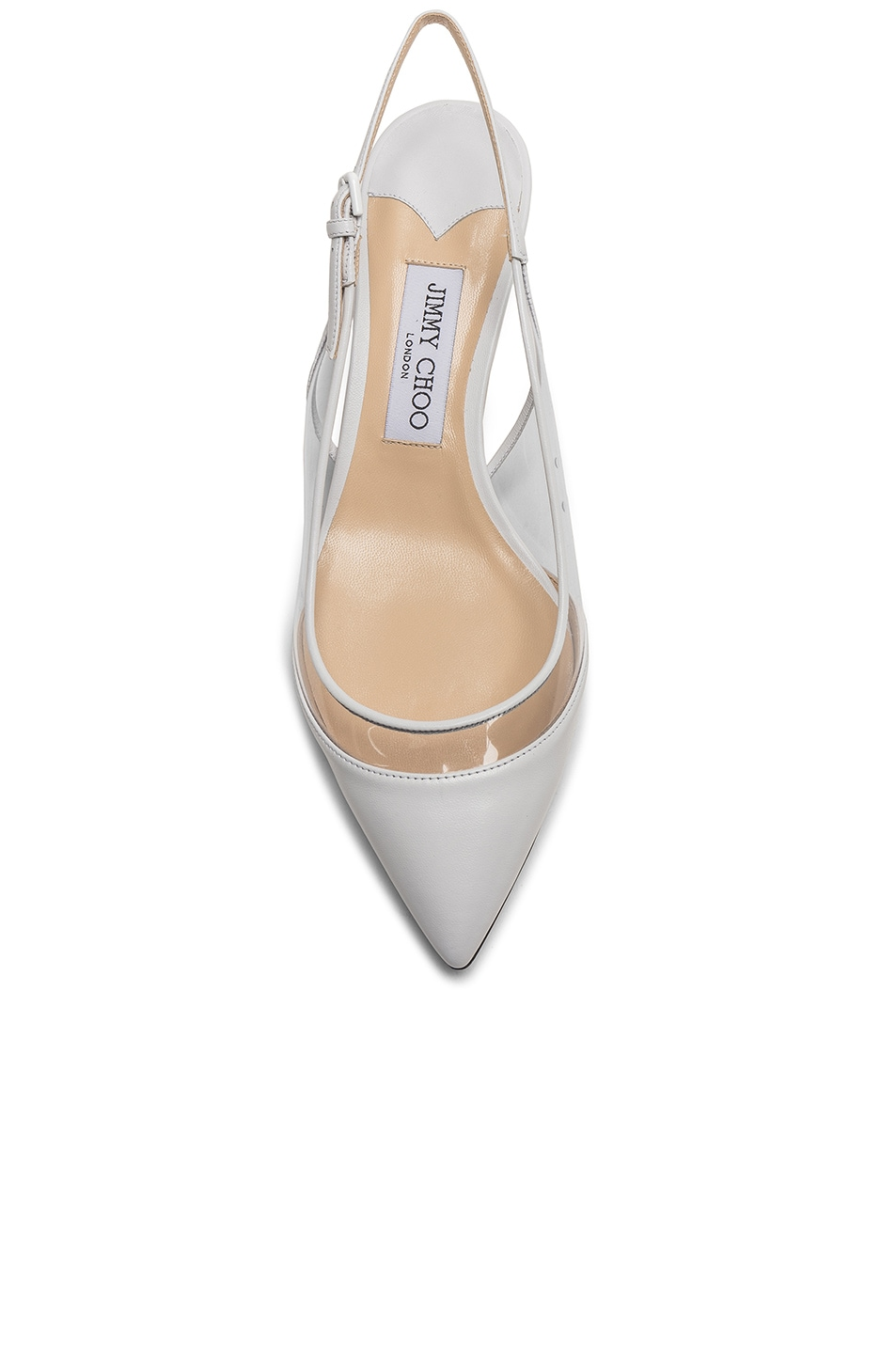 Image 4 of Jimmy Choo Gemma 40 Leather Plexi Slingback in White & Clear