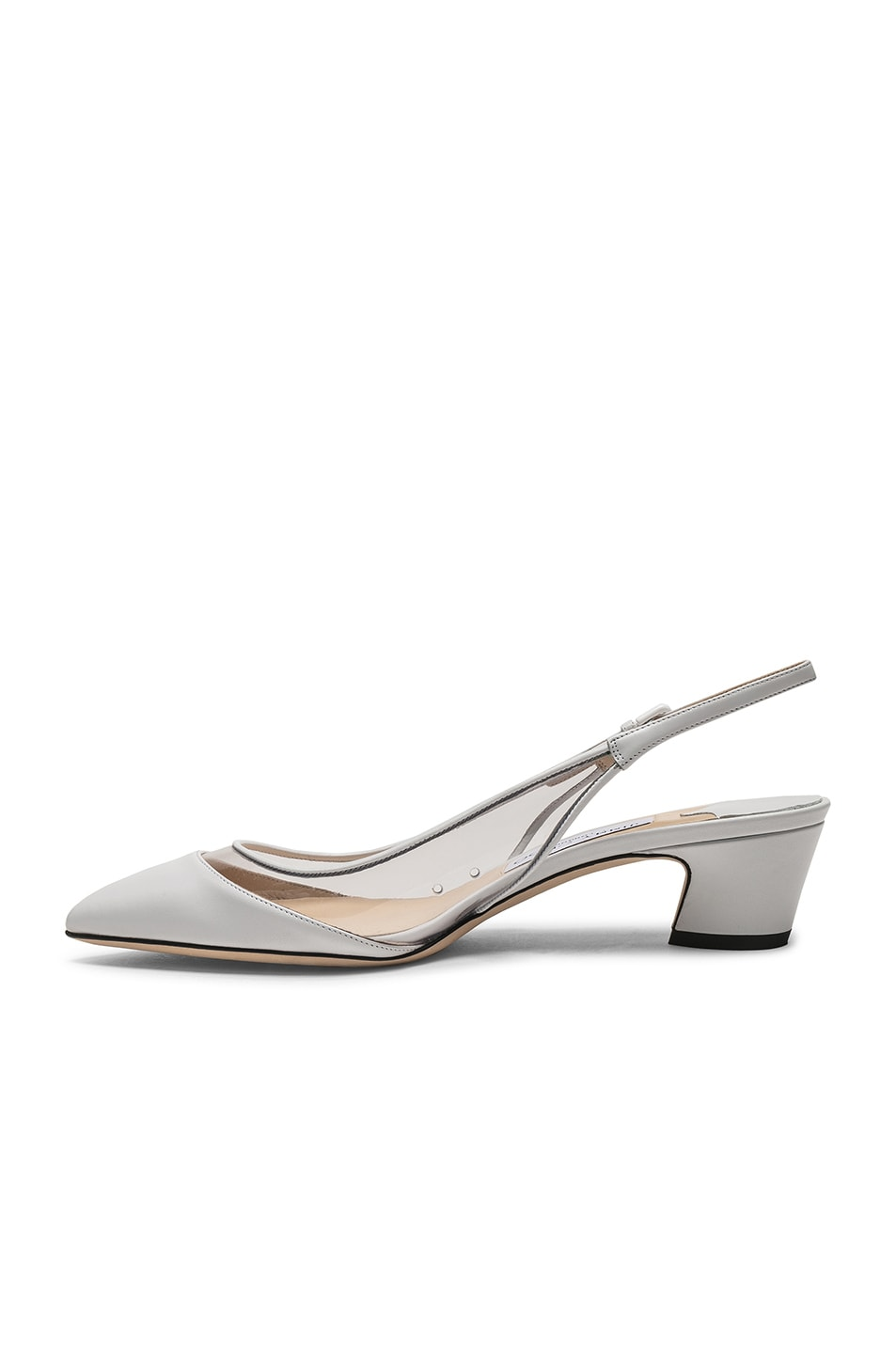 Image 5 of Jimmy Choo Gemma 40 Leather Plexi Slingback in White & Clear
