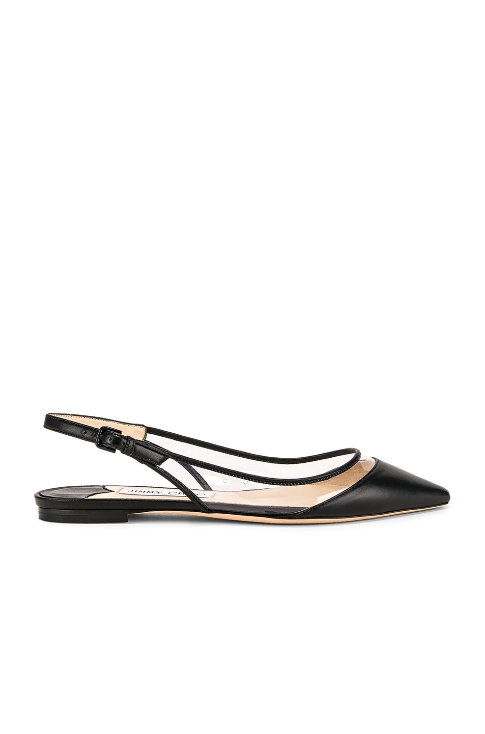 Image 1 of Jimmy Choo Erin Leather Plexi Flat in Black & PVC