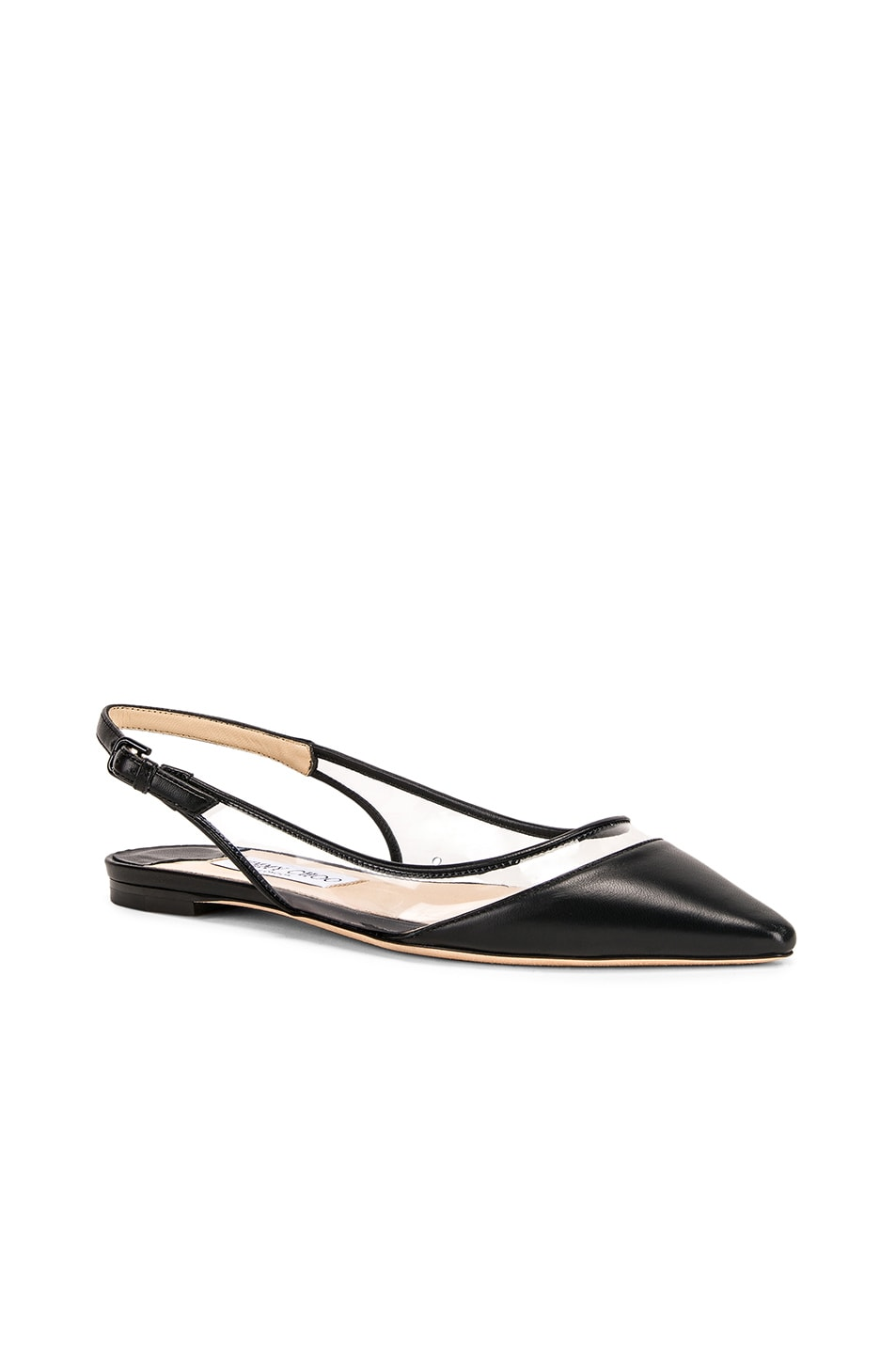 Image 2 of Jimmy Choo Erin Leather Plexi Flat in Black & PVC