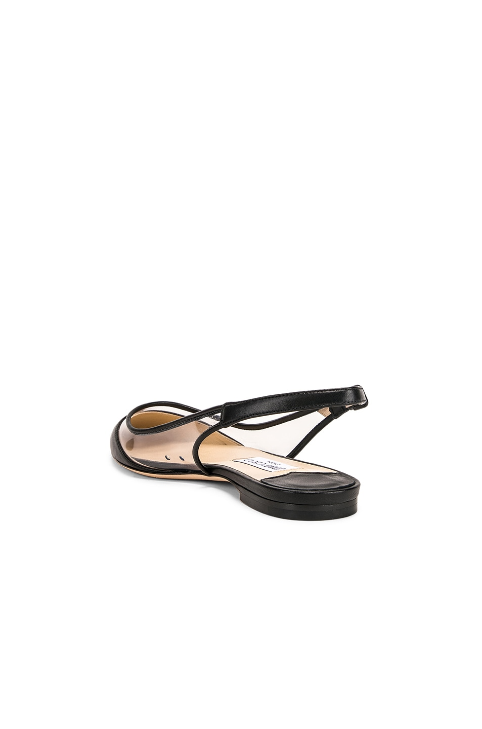 Image 3 of Jimmy Choo Erin Leather Plexi Flat in Black & PVC