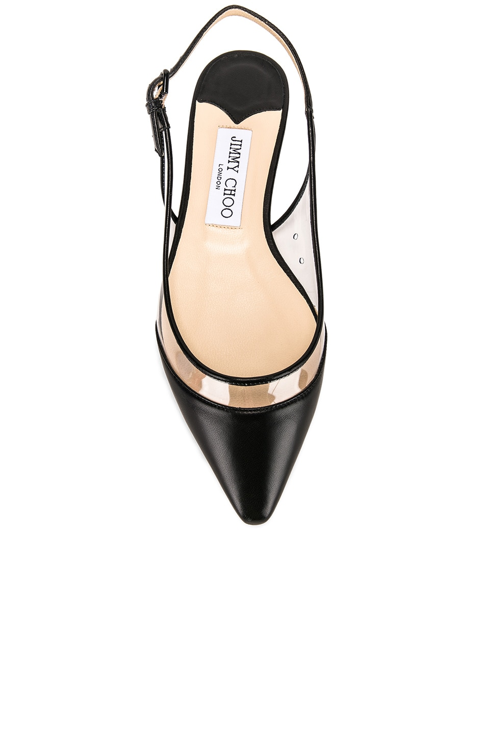 Image 4 of Jimmy Choo Erin Leather Plexi Flat in Black & PVC