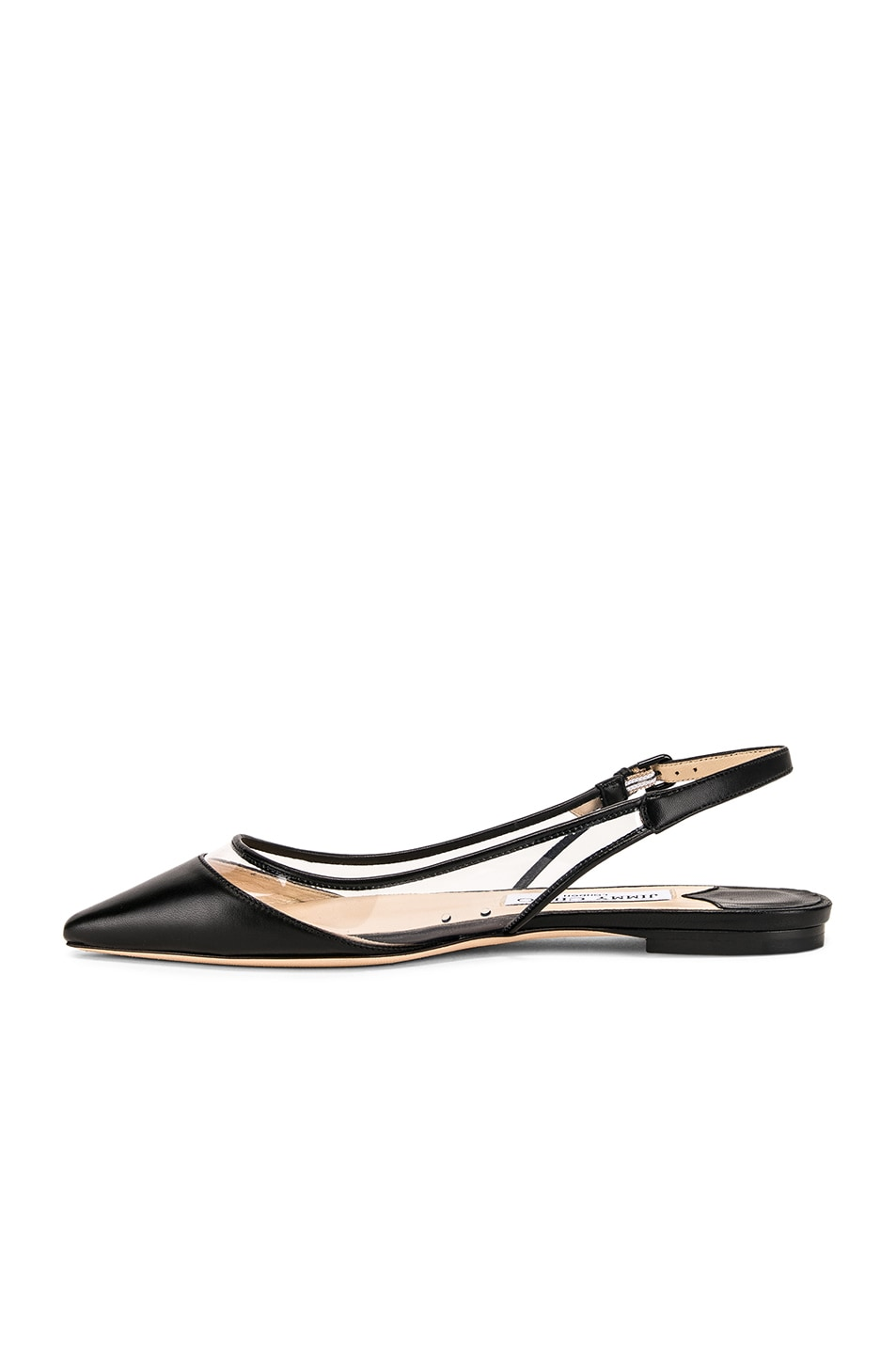 Image 5 of Jimmy Choo Erin Leather Plexi Flat in Black & PVC
