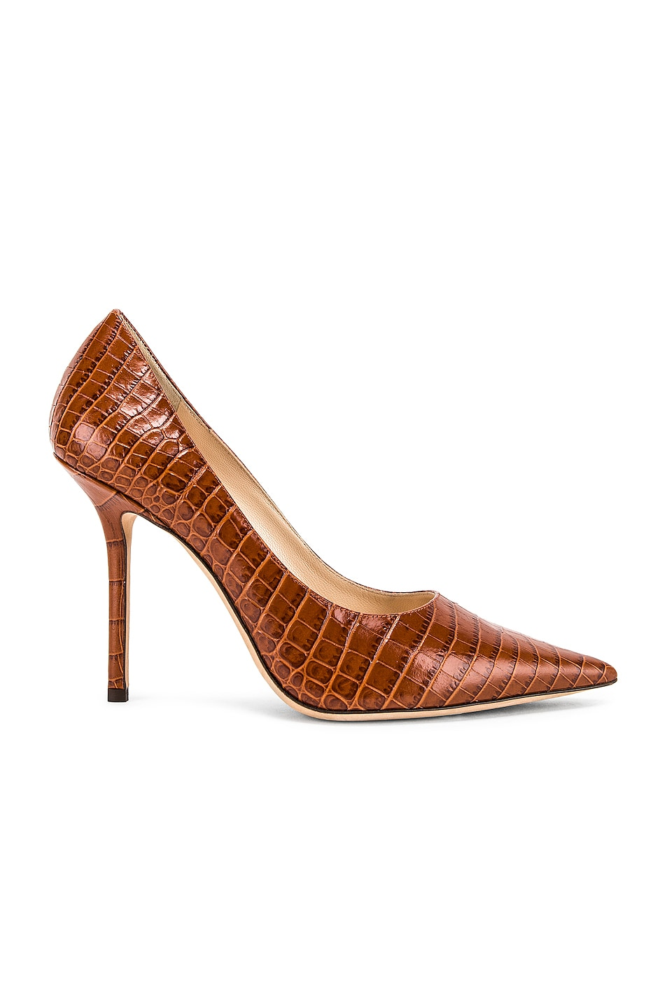 Image 1 of Jimmy Choo Croc Embossed Love 100 Heel in Cuoio