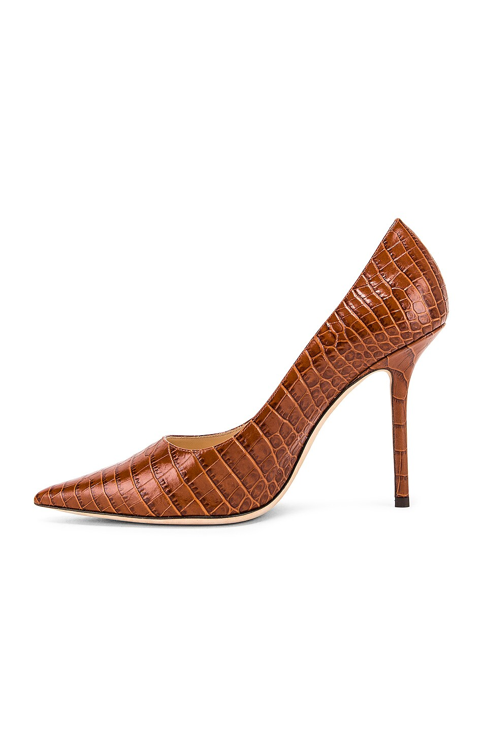 Image 5 of Jimmy Choo Croc Embossed Love 100 Heel in Cuoio
