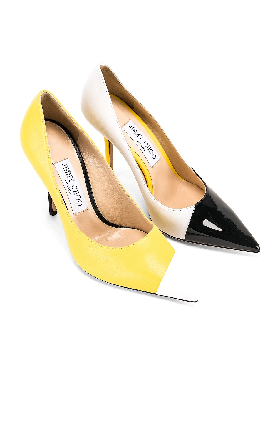 Image 1 of Jimmy Choo Love 100 Heel in Black, White & Fluo Yellow
