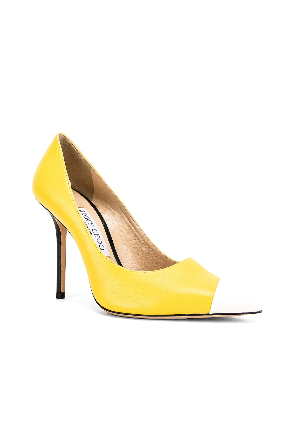 Image 3 of Jimmy Choo Love 100 Heel in Black, White & Fluo Yellow