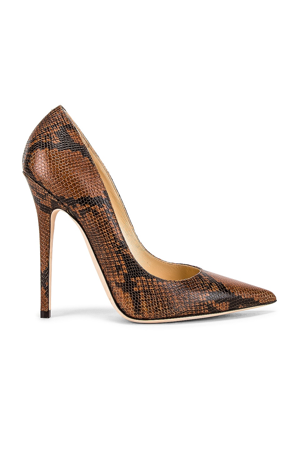 Image 1 of Jimmy Choo Snake Print Anouk 120 Heel in Cuoio