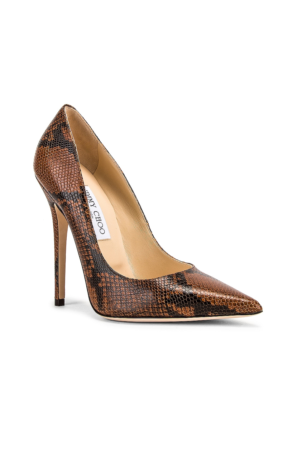 Image 2 of Jimmy Choo Snake Print Anouk 120 Heel in Cuoio