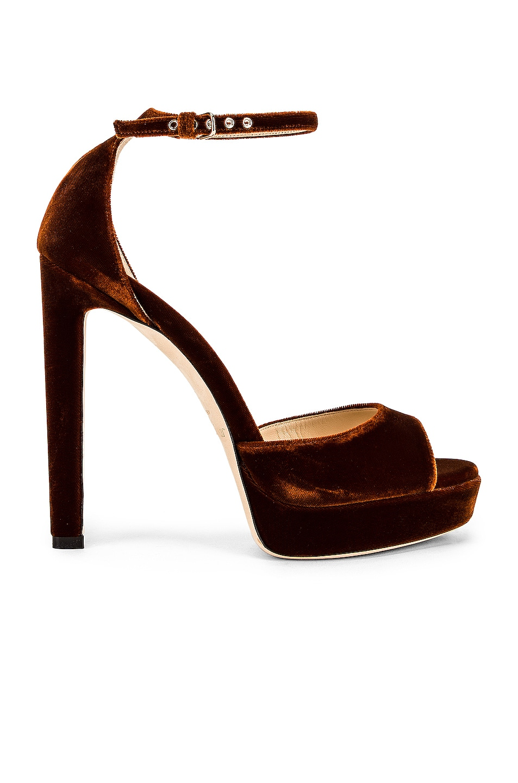 Image 1 of Jimmy Choo Pattie 130 Velvet Sandal in Rust