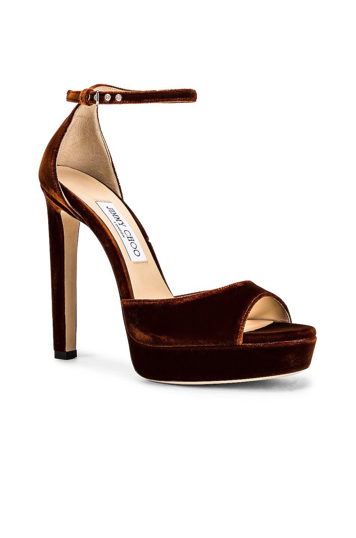 Image 2 of Jimmy Choo Velvet Pattie 130 Sandal in Rust