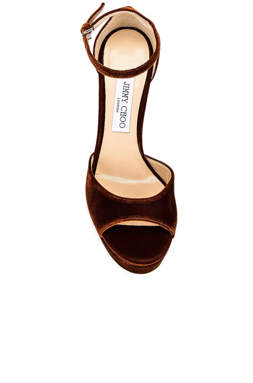 Image 4 of Jimmy Choo Velvet Pattie 130 Sandal in Rust