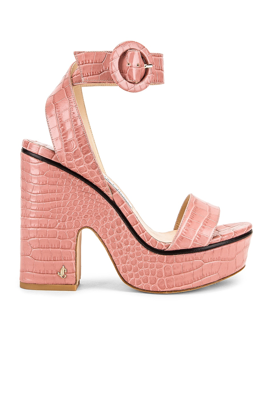Image 1 of Jimmy Choo Aimee 125 Croc Embossed Sandal in Blush