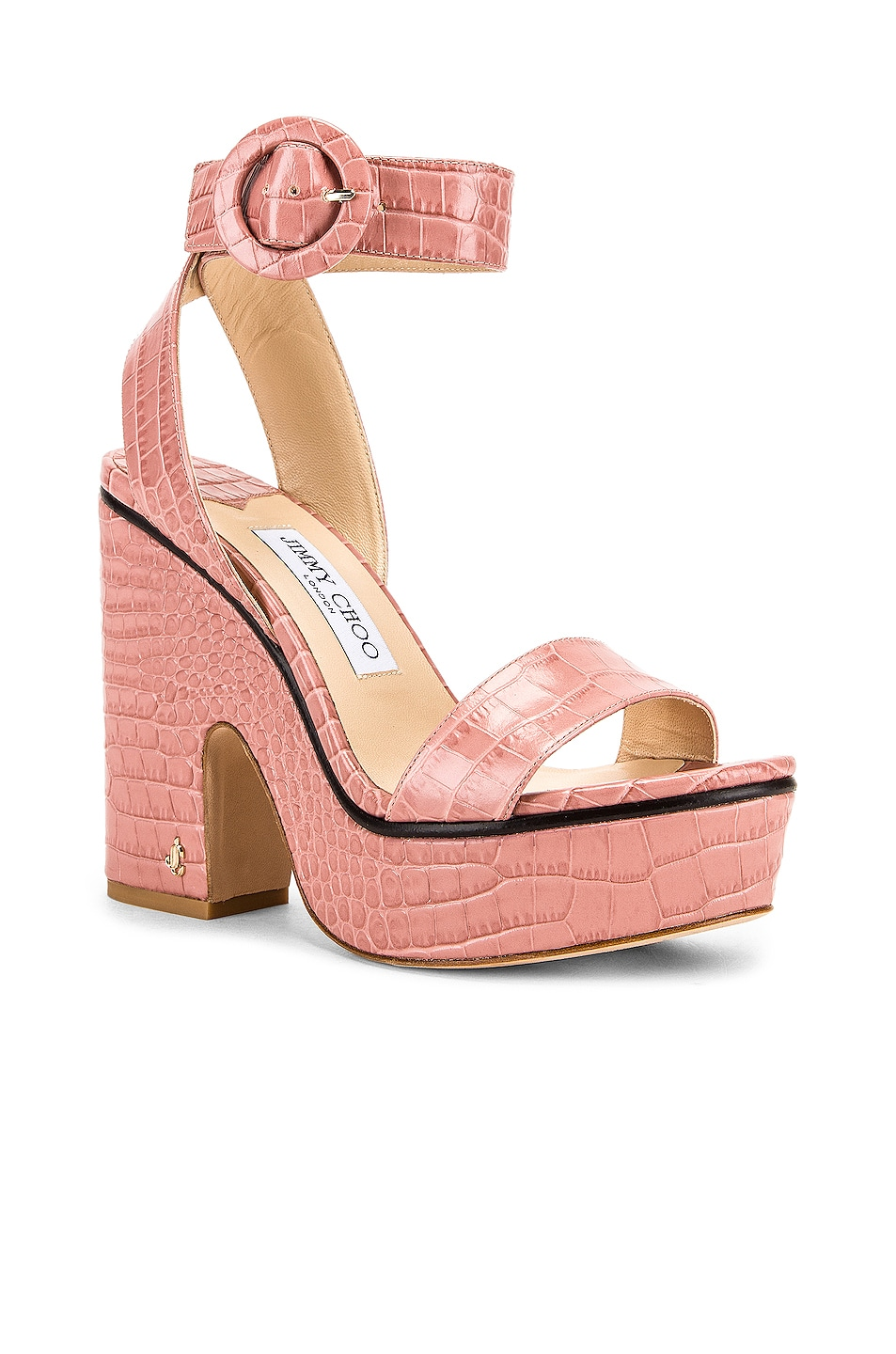 Image 2 of Jimmy Choo Aimee 125 Croc Embossed Sandal in Blush