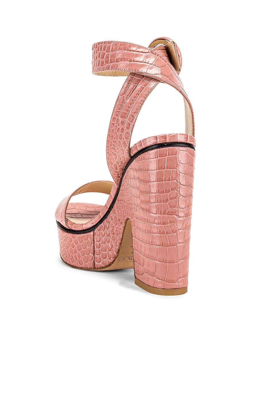 Image 3 of Jimmy Choo Aimee 125 Croc Embossed Sandal in Blush