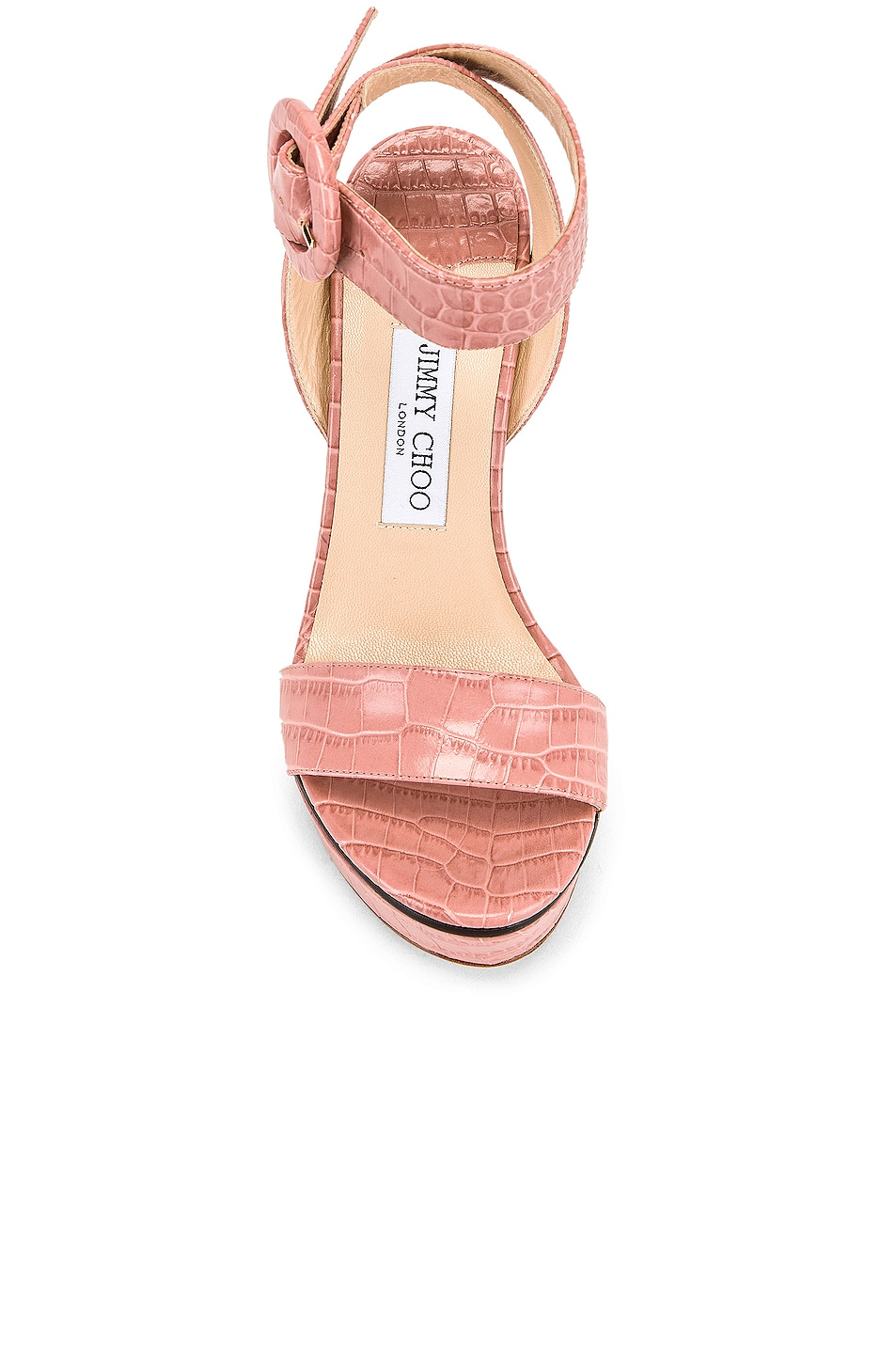 Image 4 of Jimmy Choo Aimee 125 Croc Embossed Sandal in Blush