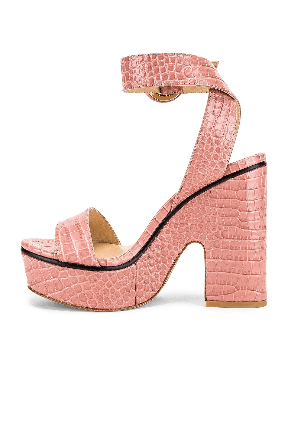 Image 5 of Jimmy Choo Aimee 125 Croc Embossed Sandal in Blush