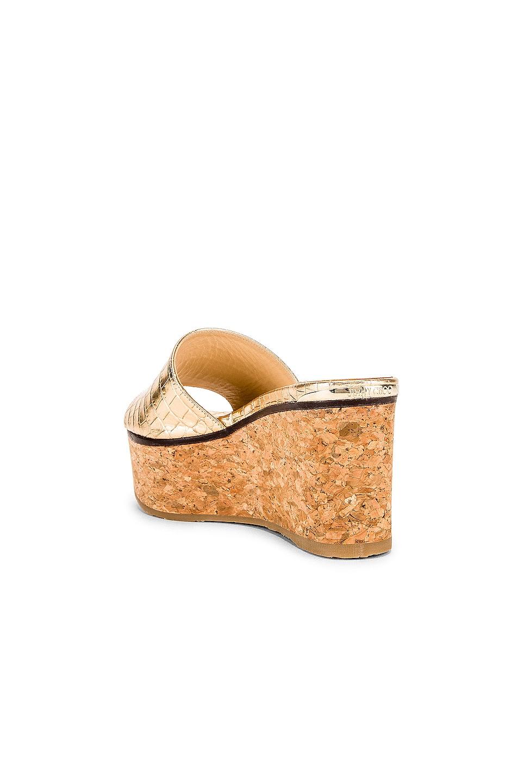 Image 3 of Jimmy Choo Deedee 80 Metallic Embossed Leather Slide in Light Gold