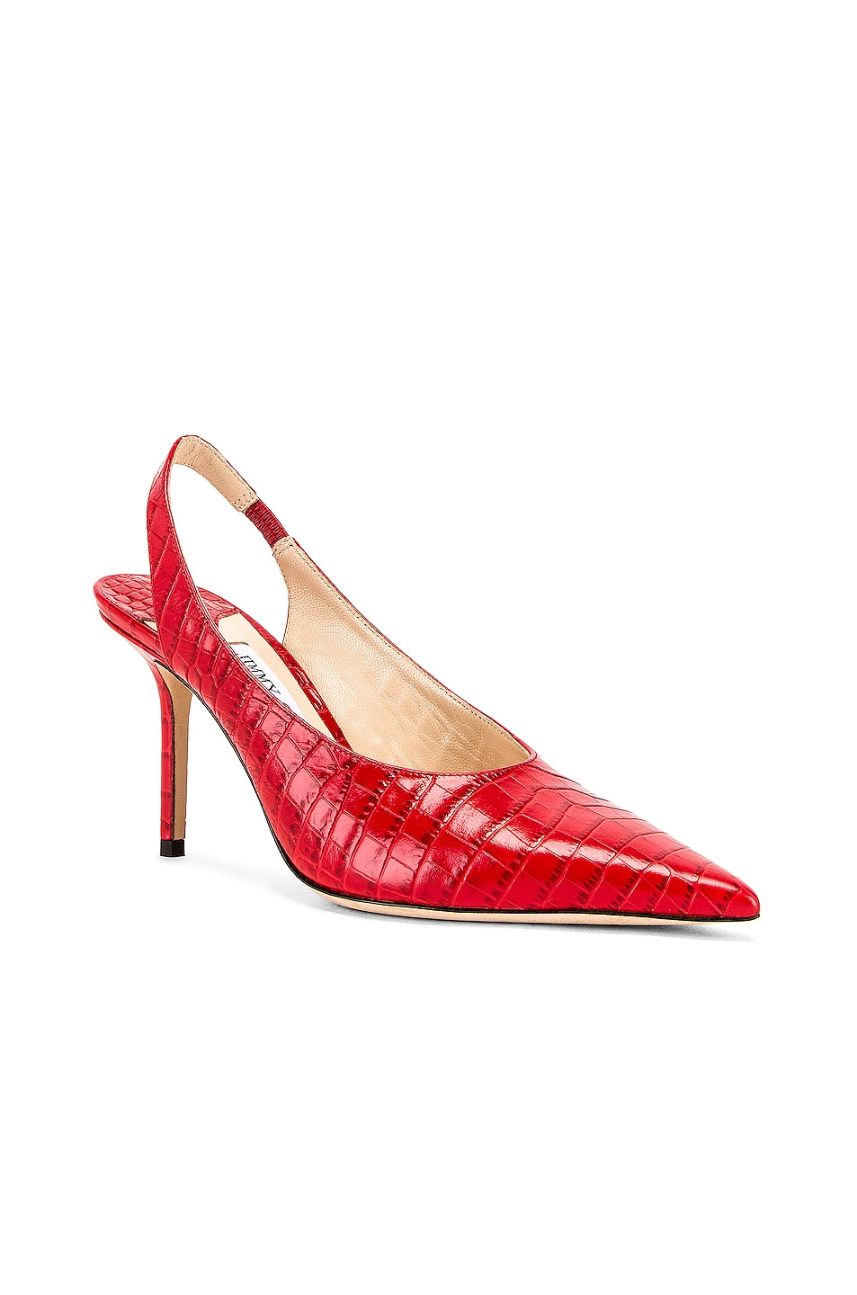 Image 2 of Jimmy Choo Ivy 85 Croc Embossed Leather Slingback in Red