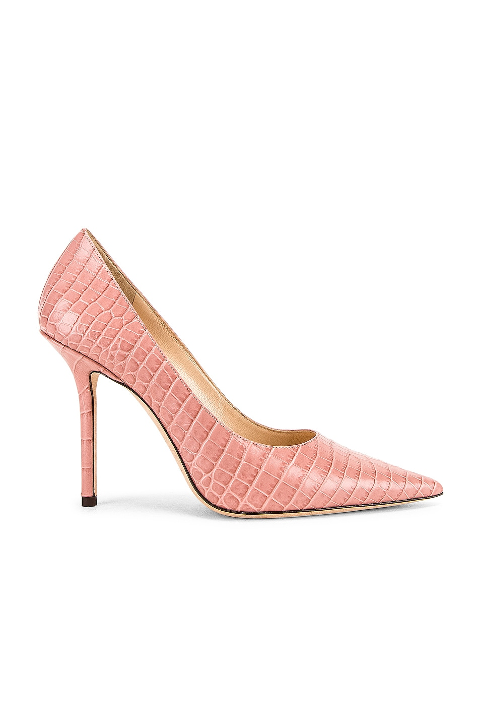 Image 1 of Jimmy Choo Love 100 Croc Embossed Leather Heel in Blush
