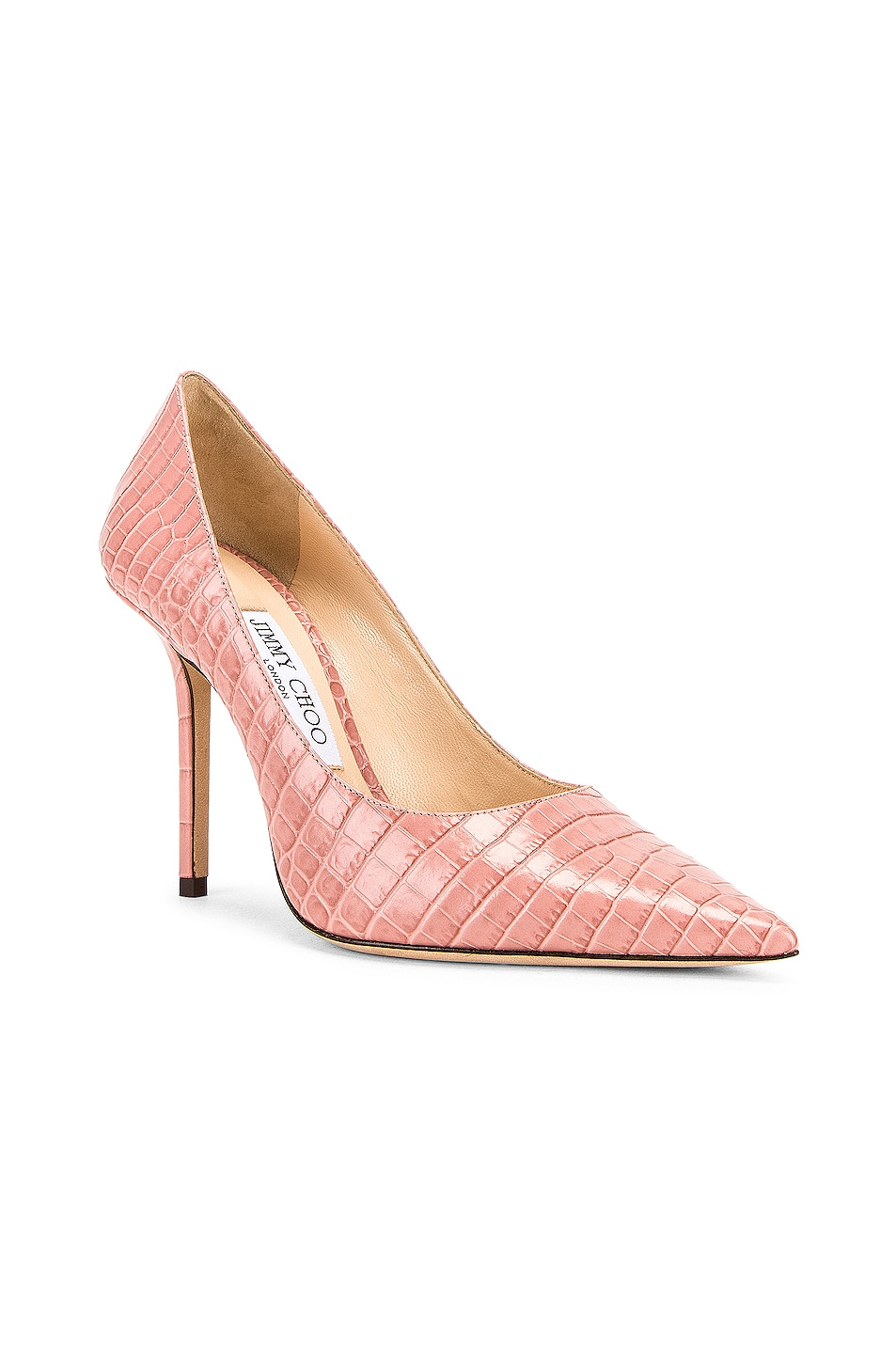 Image 2 of Jimmy Choo Love 100 Croc Embossed Leather Heel in Blush