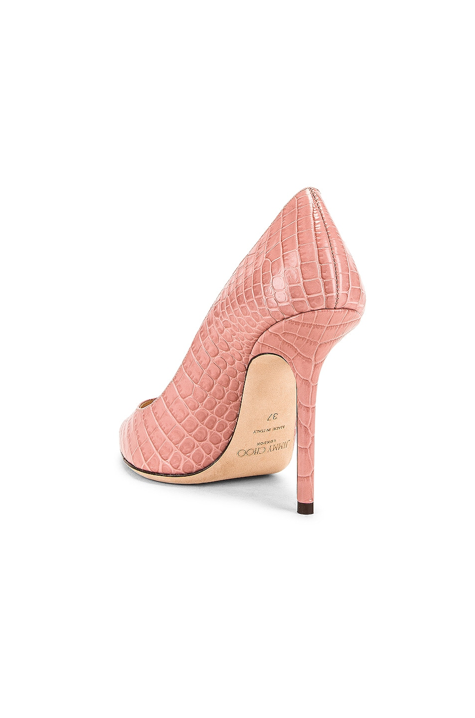 Image 3 of Jimmy Choo Love 100 Croc Embossed Leather Heel in Blush