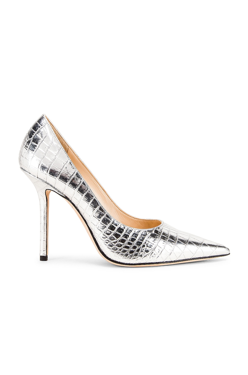 Image 1 of Jimmy Choo Love 100 Metallic Croc Embossed Leather Heel in Silver