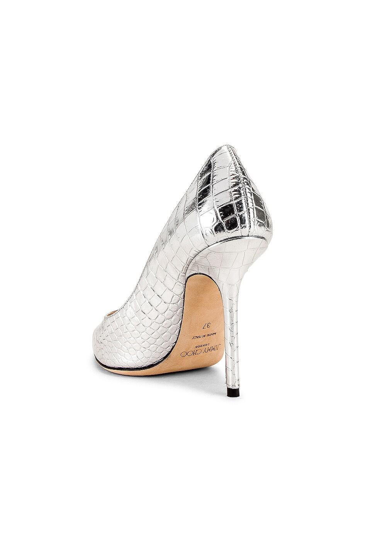Image 3 of Jimmy Choo Love 100 Metallic Croc Embossed Leather Heel in Silver