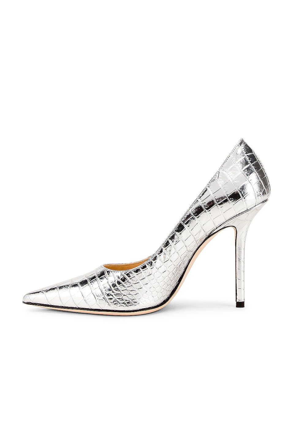 Image 5 of Jimmy Choo Love 100 Metallic Croc Embossed Leather Heel in Silver