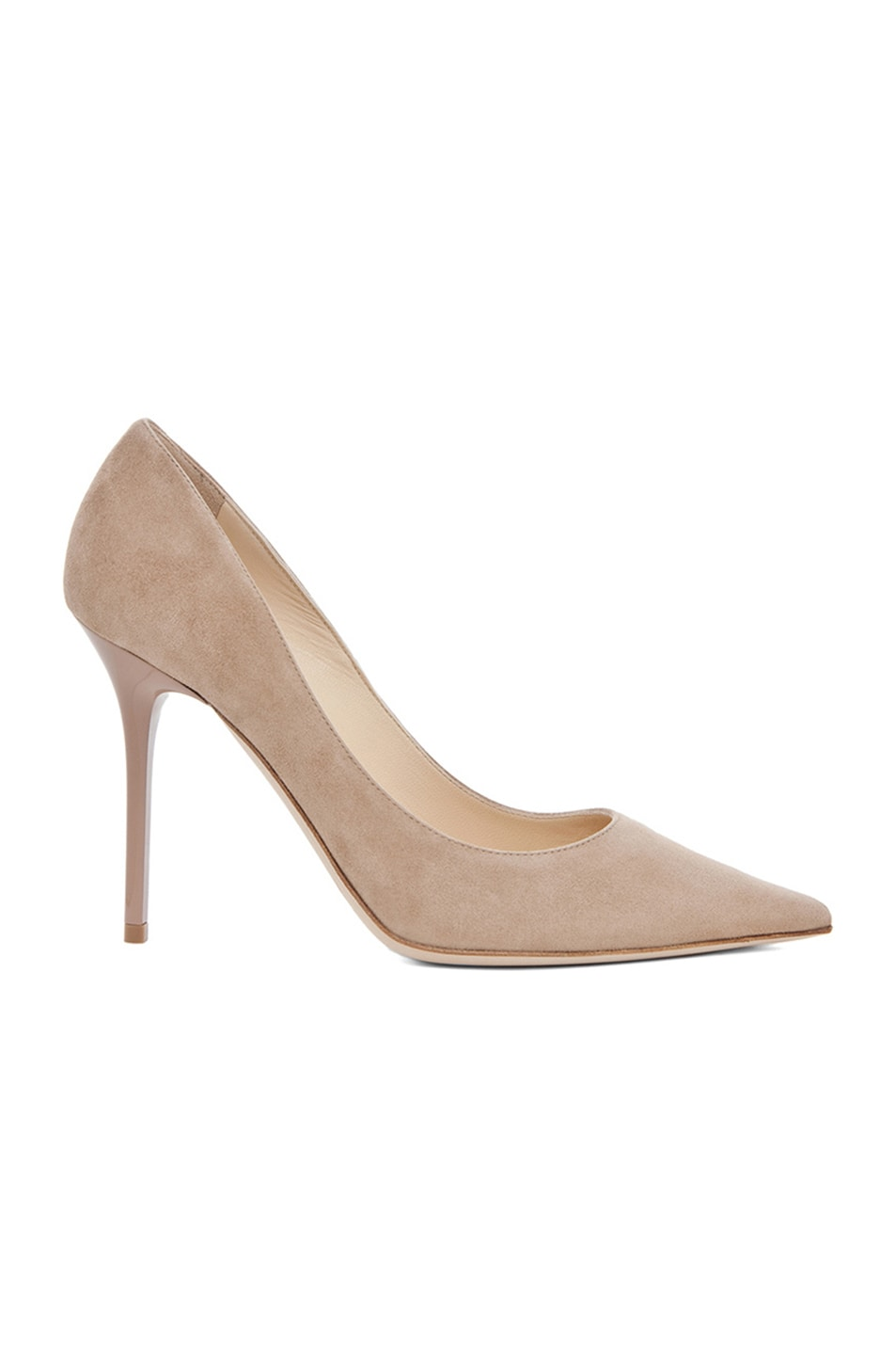 30d92957e46 Image 1 of Jimmy Choo Abel 100 Suede Pumps in Nude