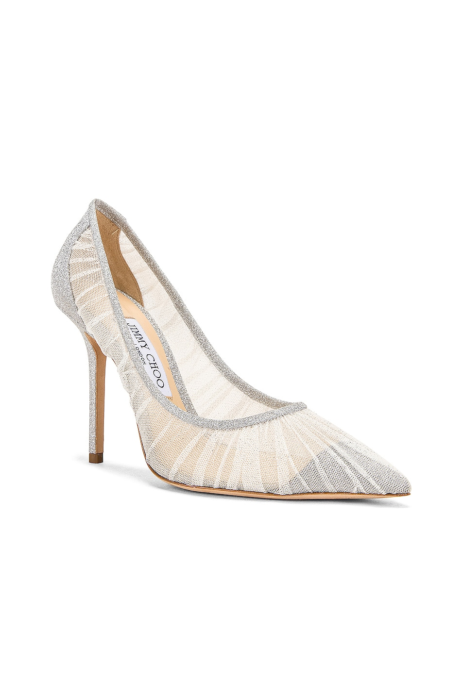 Image 2 of Jimmy Choo Love 100 Fine Glitter Heel in Ivory & Silver