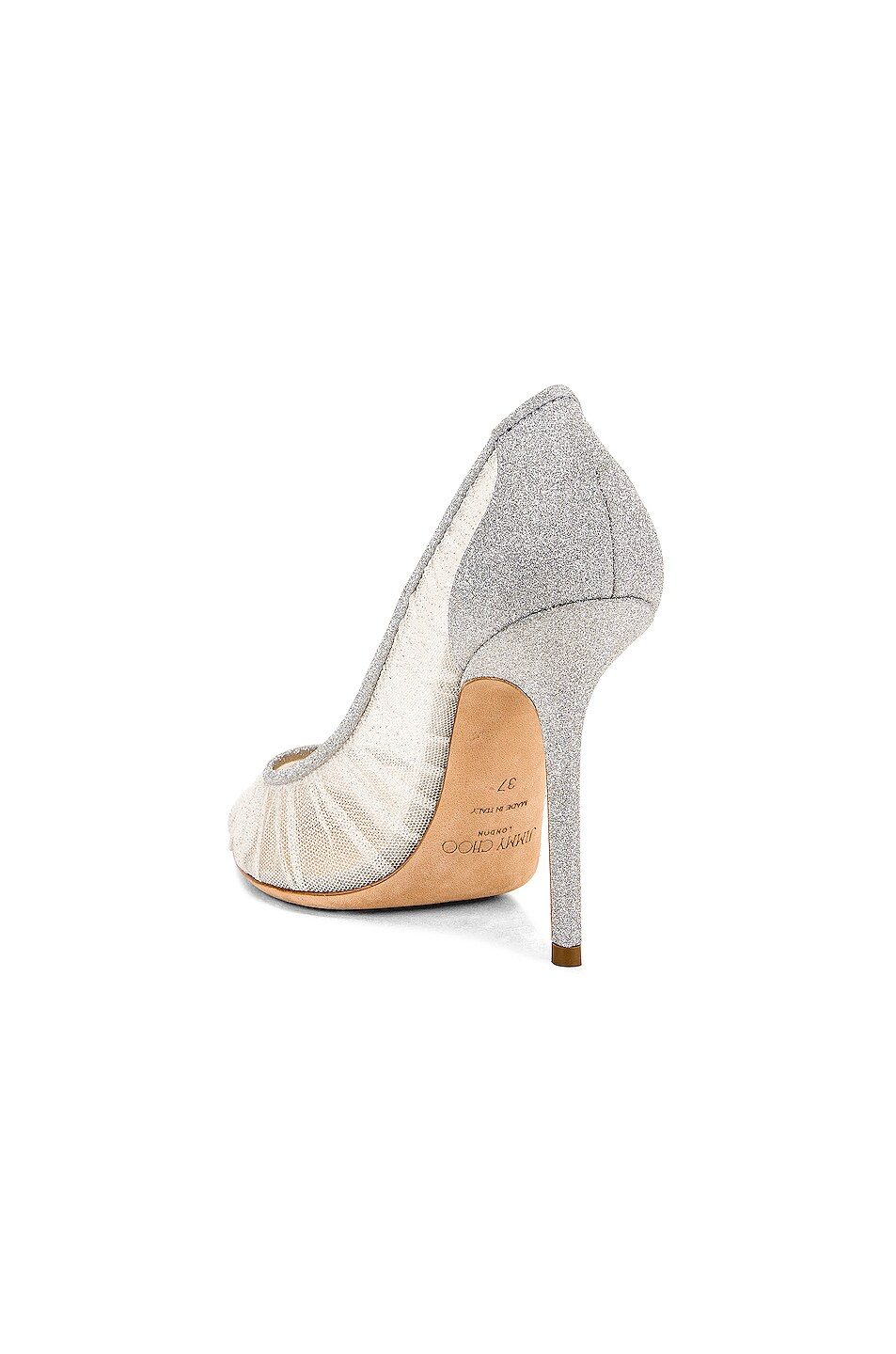 Image 3 of Jimmy Choo Love 100 Fine Glitter Heel in Ivory & Silver